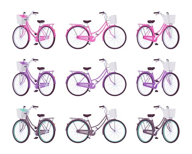 ピンク、紫、黒の色のバスケットを持つ女性の自転車のセット