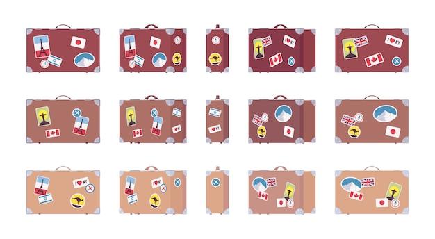 Винтажные дорожные чемоданы с ретро багажными стикерами