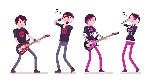 エモ少年と少女がギターを弾く