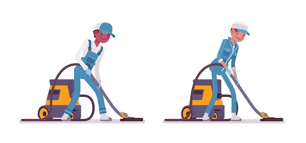 男性と女性の用務員掃除機のセット