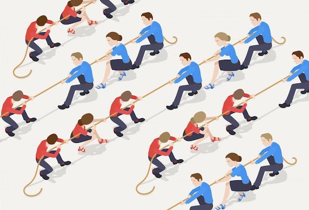 綱引き。会社員の青いチームに対する赤いチーム