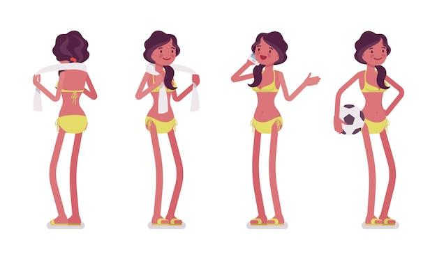 Молодая женщина в летний пляжный наряд, стоя