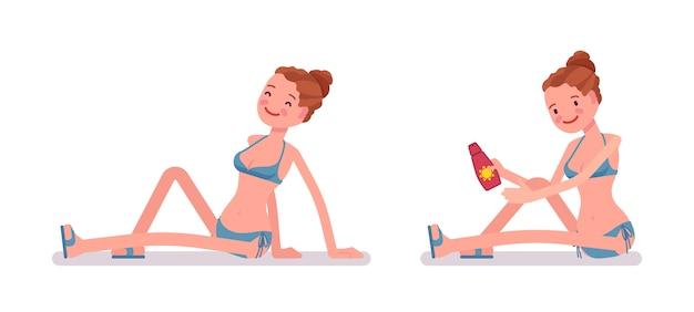 Молодая женщина, сидя на пляже