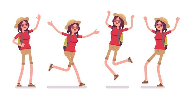 Туристический набор положительных эмоций женщины