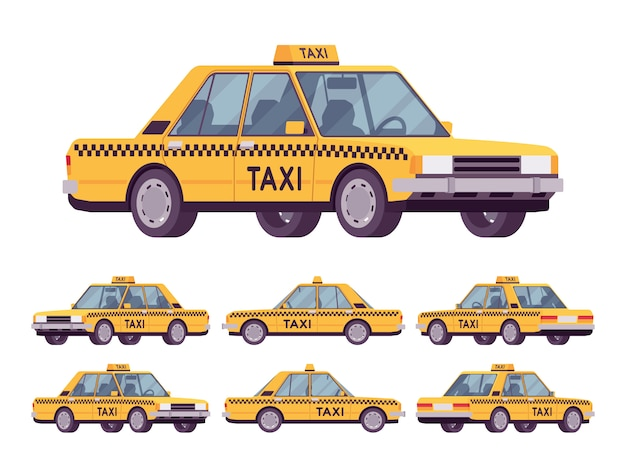 黄色のタクシー車
