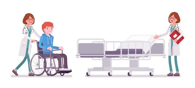 Женщина-врач и госпитализированный пациент