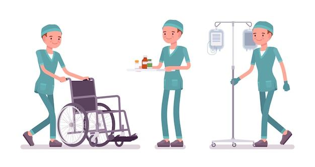 医療処置を行う男性看護師