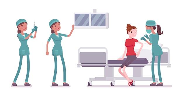 医療処置で女性看護師