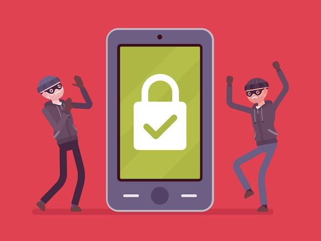 信頼できる保護下のスマートフォン