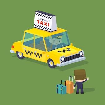 タクシーを呼びかけようとしているスーツケースを持って旅行者