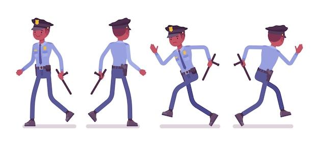 Полицейский, идущий и бегущий баннер