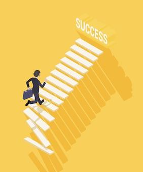 Путь к успеху в бизнесе. бизнесмен с портфелем поднимается по лестнице к успеху