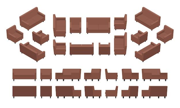 等尺性のモダンなアームチェアとソファのセット