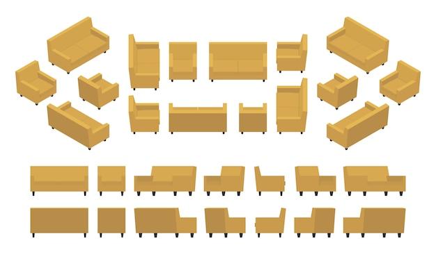 Набор изометрических желтых современных кресел и диванов