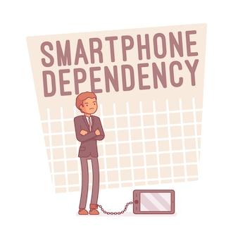 Смартфон зависимость, штриховая иллюстрация