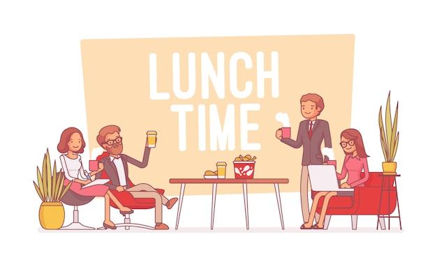オフィス、ラインアートイラストで昼食時間
