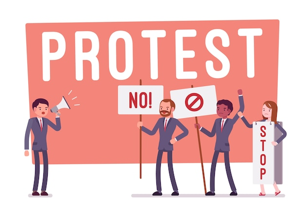 Протестующие люди во время забастовки