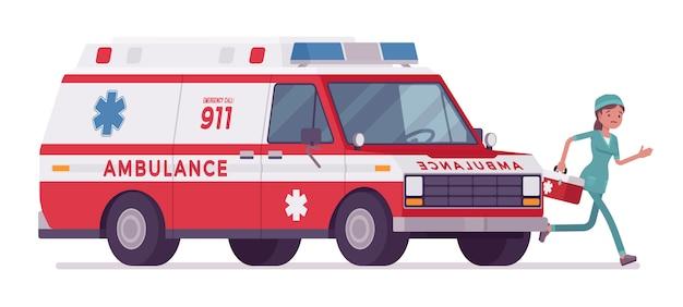 Женщина медсестра на машине скорой помощи баннер