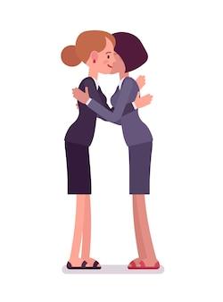 抱擁を与えるビジネスウーマン