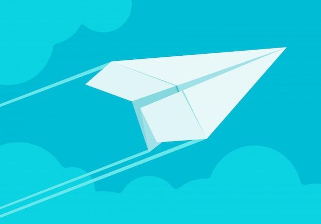 Белый бумажный самолетик, летящий в небе