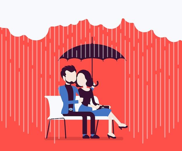 Влюбленная пара под зонтиком