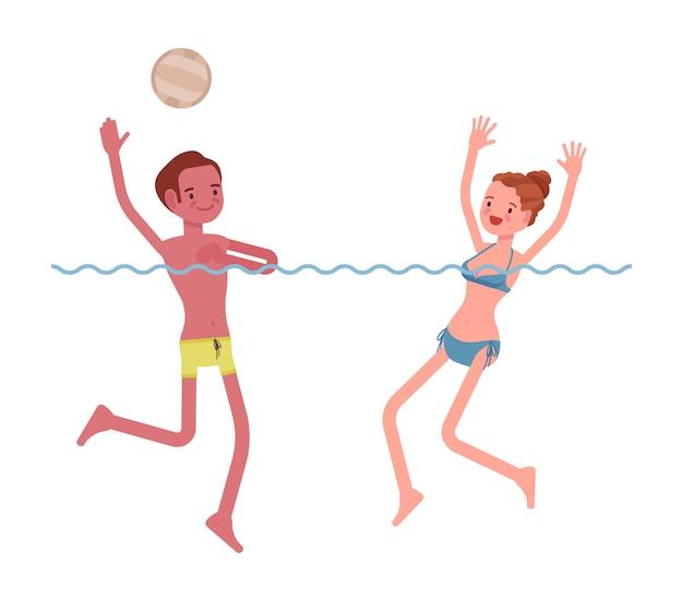 水球の若い男性と女性の演奏セット
