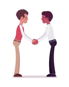 Мужской клерки рукопожатие обеими руками