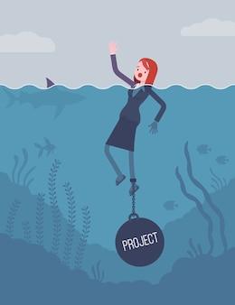 Предпринимательница тонет прикованная к весу проект