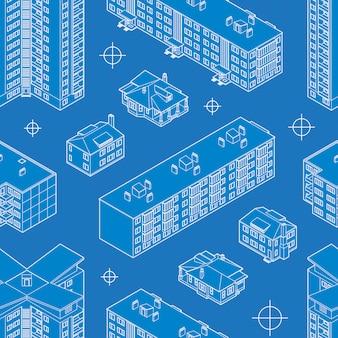 青写真住居の建物のシームレスなパターン。