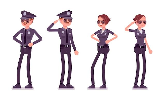 立っている若い警察官
