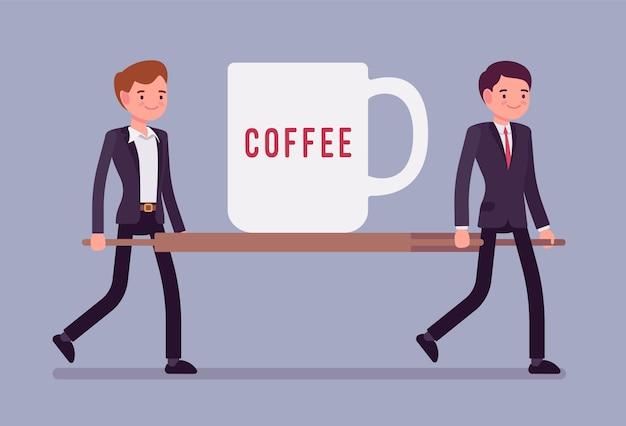 担架に緊急用コーヒーカップ