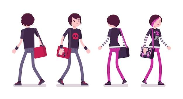 Эмо мальчик и девочка в позе ходьбы
