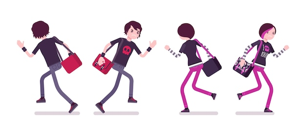 Эмо мальчик и девочка в позе бега