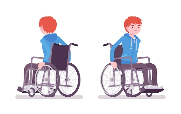 男性の若い車椅子ユーザー手動椅子を移動