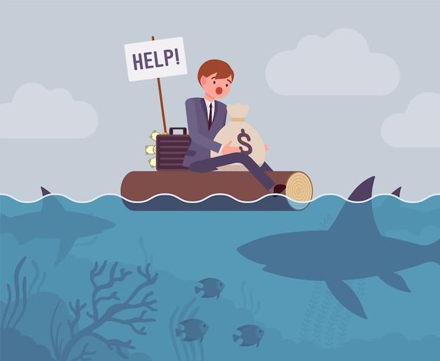 大きなサメに襲われたビジネス