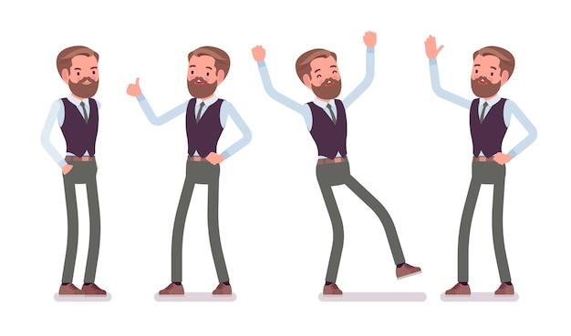 ハンサムな男性会社員が立って、前向きな感情を感じ、彼のキャリアの成功を楽しんでいます。ビジネスカジュアルな男性ファッションのコンセプトです。スタイル漫画イラスト、白い背景