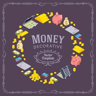 金融関連のオブジェクトで作られた装飾デザイン