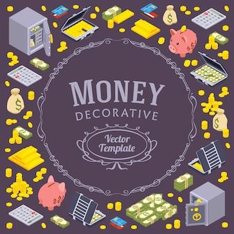 Оформление дизайна из объектов, связанных с финансами