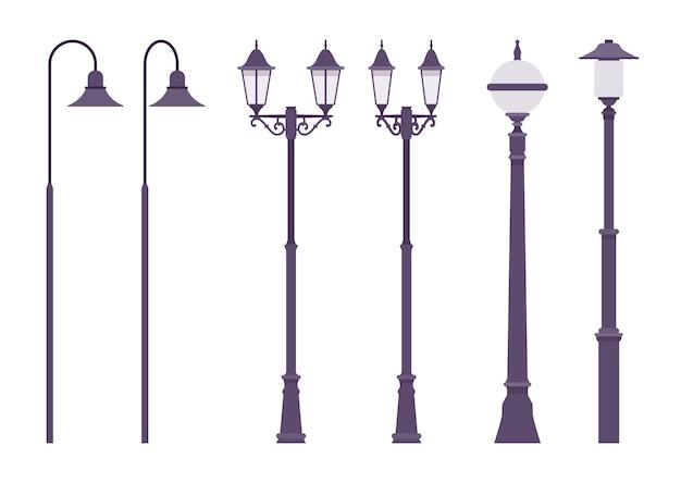 黒のレトロな街灯。古典的な街灯柱、安全な歩行のための背の高い街灯柱照明道路。造園、照明システム、都市デザイン。スタイル漫画イラスト