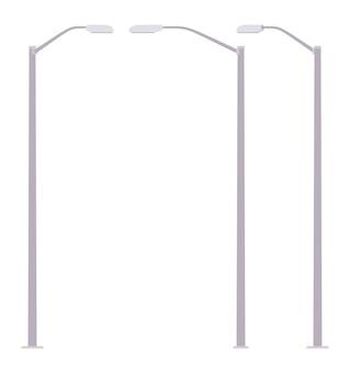 シルバー街路灯ポスト。金属の街灯柱、安全な歩行、運転のための高い街灯柱照明道路。景観建築、照明システムの都市デザイン。スタイル漫画イラスト