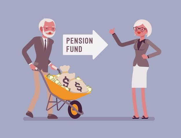 年金基金への投資。老人はお金のカートを押し、高齢者が政府からの援助を得るための金融システム、保証されたサポートと社会保障を押します。スタイル漫画イラスト
