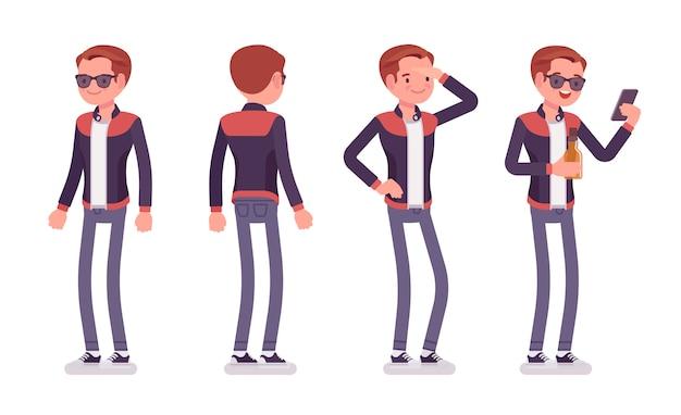 若い男が立っています。丸いボタンの襟とスキニーフィットジーンズ、若者の都会的なファッションでトレンディな革のジャケットを着て電話を持つ白人のミレニアルボーイ。スタイル漫画イラスト