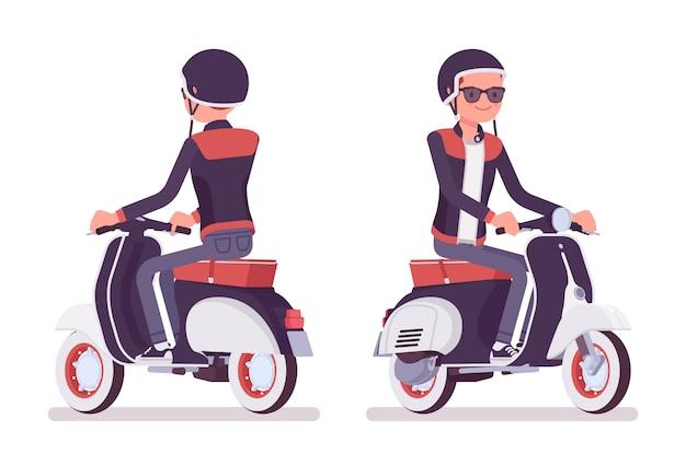 若い男がスクーターに乗っています。ヘルメットをかぶったバイクに乗ったミレニアルボーイ、丸いボタンの襟が付いたトレンディなレザージャケット、スキニーフィットジーンズ、若者向けの都会的なファッション。スタイル漫画イラスト