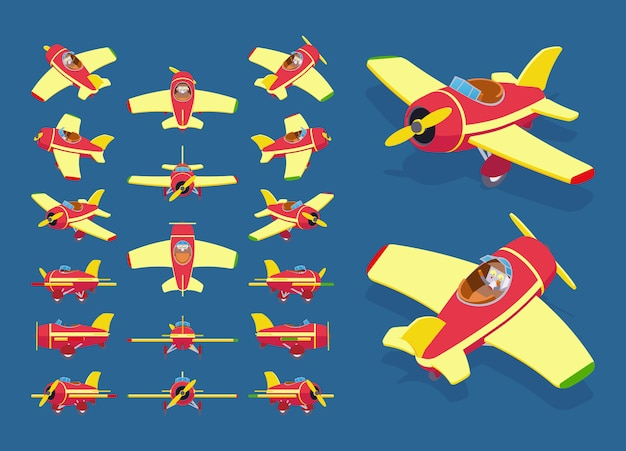 Набор изометрических игрушечных самолетов