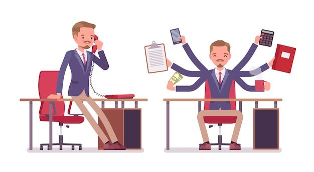 男性オフィス秘書。ジャケットを着たスマートな男、細いズボン、仕事を手伝って、電話で話している複数のタスクを実行します。ビジネスワークウェア、シティファッション。スタイル漫画イラスト