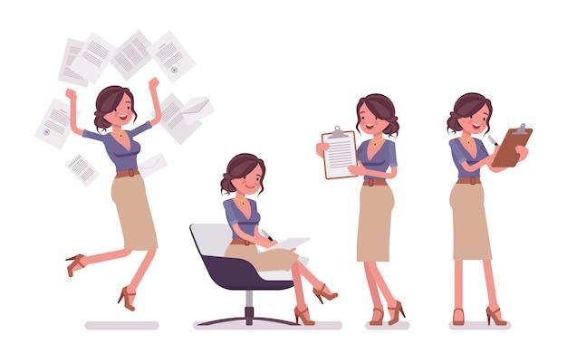 書類で忙しいセクシーな秘書。エレガントな女性事務助手がドキュメントを操作して、ノートを作ります。経営管理。白い背景の上のスタイル漫画イラスト