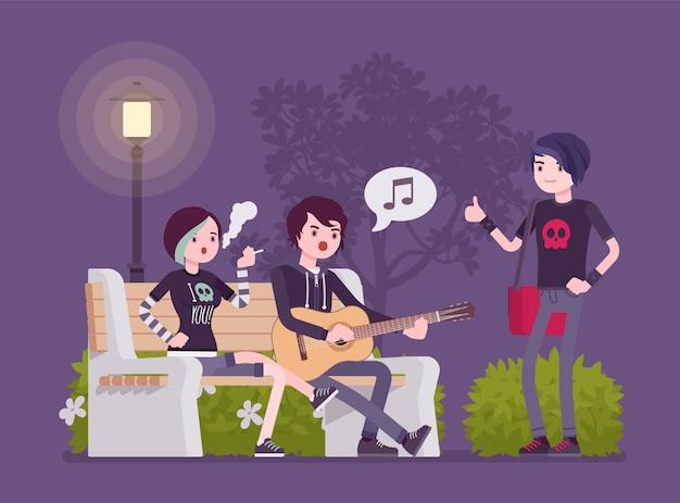 Эмо тусуется. молодые члены социальной группы субкультуры, подавленные подростки с темной внешностью, одетые в черную одежду, грязные волосы, проводят время вместе на улице. иллюстрации шаржа стиля