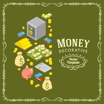 金融に関連するオブジェクトで作られたベクター装飾デザイン