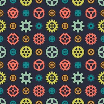 色の歯車のシームレスパターン