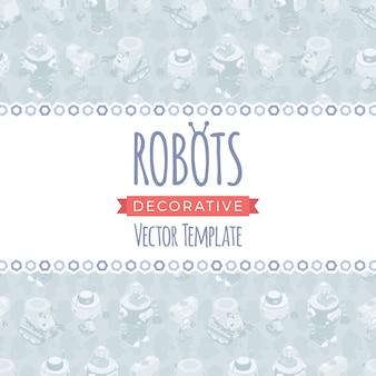 Векторный дизайн украшения из роботов